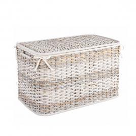 Cos depozitare din rattan textil alb crem stacy 60.96 cm x 35.56 cm x 38.10 h