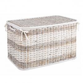 Cos depozitare din rattan textil alb crem stacy 66.04 cm x 40.64 cm x 43.18 h