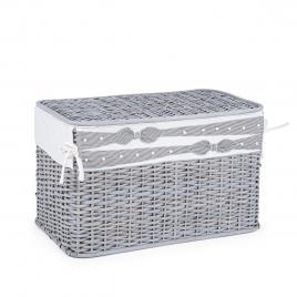 Cos depozitare din rattan textil gri elegantly 60 cm x 35 cm x 38 h