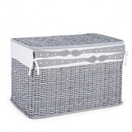Cos depozitare din rattan textil gri elegantly 66 cm x 40 cm x 43 h