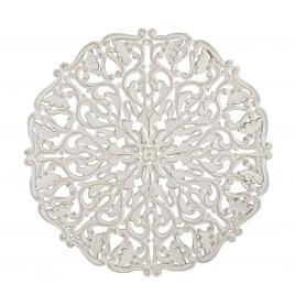 Decoratiune rotunda de perete din lemn alb antichizat vishal 90 cm x 1.7 cm x 90 h