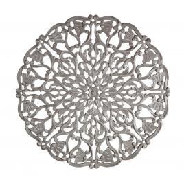 Decoratiune rotunda de perete din lemn gri antichizat vishal 80 cm x 1.7 cm x 80 h