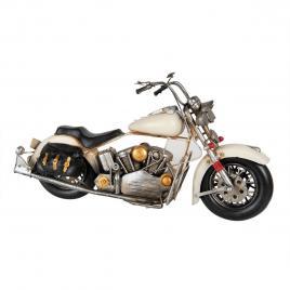 Macheta motocicleta retro din metal alb negru 40 cm x 16 cm x 20 h