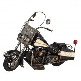 Macheta motocicleta retro din metal negru alb police 58 cm x 23 cm x 38 h