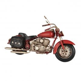 Macheta motocicleta retro din metal rosu 28 cm x 9 cm x 15 h