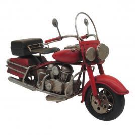 Macheta motocicleta retro din metal rosu negru 19 cm x 8 cm x 11 h