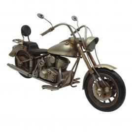 Macheta motocicleta retro metal argintiu antichizat 29 cm x 10 cm x 14 cm