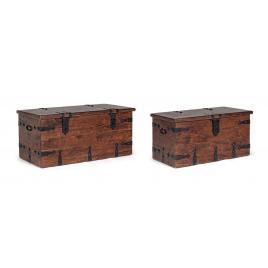 Set 2 cufere depozitare lemn maro jaipur 83 cm x 43 cm x 42 h; 102 cm x 50 cm x 46 h