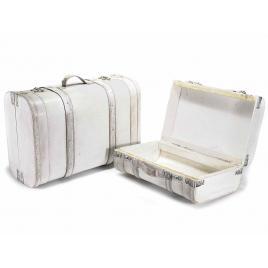 Set 2 valize decorative din lemn alb vintage decorate cu piele ecologica 45 cm x 19.5 cm x 31 h