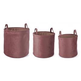 Set 3 cosuri depozitare din catifea roz Ø 38 cm x 38 h