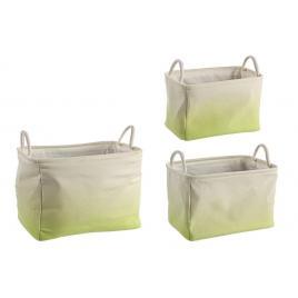 Set 3 cosuri depozitare din textil crem verde 42.5 cm x 29.5 cm x 29 h