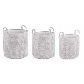 Set 3 cosuri depozitare din textil gri lexi Ø 38 cm x 38 h