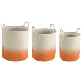Set 3 cosuri rotunde depozitare din textil crem portocaliu Ø 36 cm x 40 h