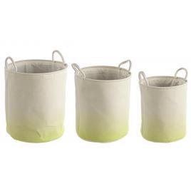 Set 3 cosuri rotunde depozitare din textil crem verde Ø 36 cm x 40 h