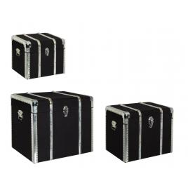 Set 3 cufere depozitare mdf negru ducalis 61 cm x 48 cm x 51 h
