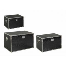 Set 3 cufere depozitare mdf negru elegance 65.5 cm x 40.5 cm x 38.5 h