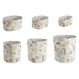 Set 6 cosuri depozitare din textil Ø 43 cm x 45 h; 40 cm x 30 cm x 20 h