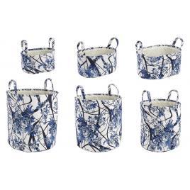 Set 6 cosuri depozitare din textil alb albastru Ø 43 cm x 45 h; 40 cm x 30 cm x 20 h