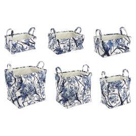 Set 6 cosuri dreptunghiulare depozitare din textil alb albastru 45 cm x 35 cm x 45 h