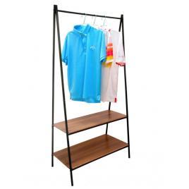 Suport pentru haine sau umerase cu 2 rafturi inferioare, culoare negru/maro