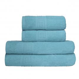 Set prosoape de baie, ralex pucioasa, greek border family pack, 4 bucati, culoare bleu pal