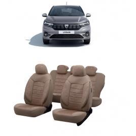 Huse scaune auto dedicate Dacia Logan 2020-2021 Premium cu insertii de piele