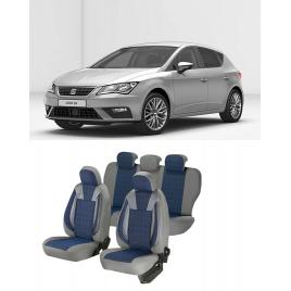 Huse scaune auto dedicate Seat Leon 2013-2019 Premium cu insertii piele