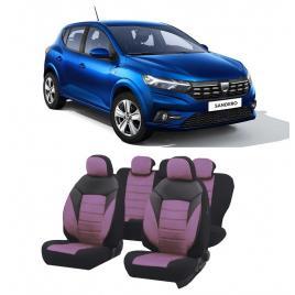 Huse scaune auto material Textil dedicate Dacia Sandero 2020-2021 Premium insertii piele ecologica