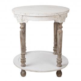 Masa rotunda cu o polita din lemn maro si alb antichizat Ø 60 cm x 68 h