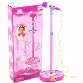 Microfon karaoke cu stand reglabil, functie de aplauze, mp3, culoare roz