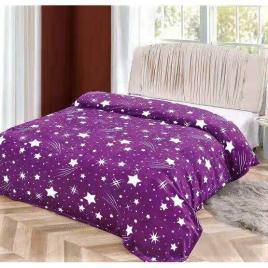 Pătură pufoasă de tip cocolino, Mov, Stele 200x230