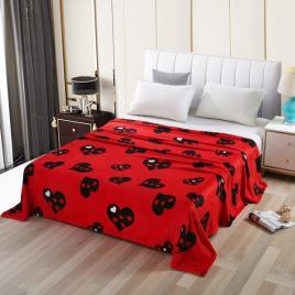 Pătură pufoasă de tip cocolino, Roșu, Inimi, 200x230
