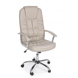 Scaun birou ergonomic cu picioare din crom argintiu si tapiterie piele ecologica bej dehli 51 cm x 59 cm x 115/125 h x 50/60 h1 67/77 h2