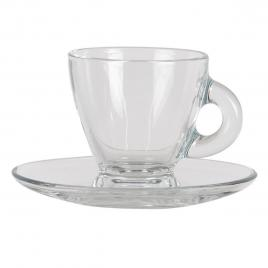 Ceasca cu farfurioara sticla transparenta 8 cm x 6 cm x 6 h / 85 ml
