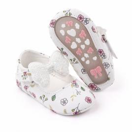 Pantofiori albi cu floricele si fundita (marime disponibila: 6-9 luni (marimea...