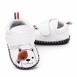Pantofiori albi pentru baietei - catelus (marime disponibila: 3-6 luni (marimea...