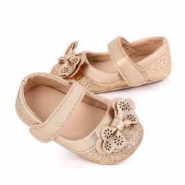 Pantofiori aurii cu sclipici si fundita (marime disponibila: 6-9 luni (marimea...