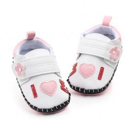 Pantofiori fetite albi - love (marime disponibila: 12-18 luni (marimea 21...