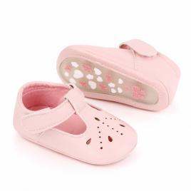 Pantofiori roz cu puncte decupate (marime disponibila: 3-6 luni (marimea 18...