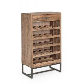Raft pentru sticle vin din lemn maro elmer 60 cm x 32 cm x 107 h