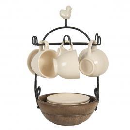 Set 6 cesti cu farfurioara din ceramica crem cu suport de fier negru Ø 17 cm x 33 h