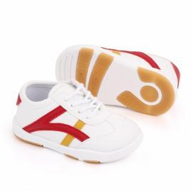 Adidasi albi cu dungi rosii si galben mustar (marime disponibila: marimea 23)