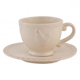 Ceasca cu farfurioara ceramica crem Ø 15 cm x 7 h / 200 ml
