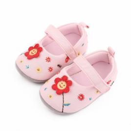 Pantofiori roz - floricica crosetata (marime disponibila: 3-6 luni (marimea 18...