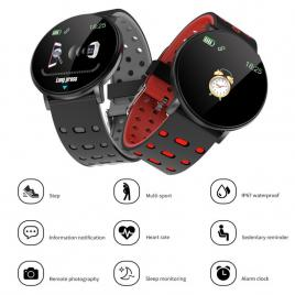 Ceas Smartwatch 119 Albastru, 1.3 Inch IPS, Monitorizare Cardiaca, Tensiune. Oxigenare, Sedentary, Bluetooth, IP65