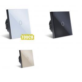 Intrerupator Touch  Sticla Securizata, Design Modern, Iluminare LED, 1 Faza, Alb