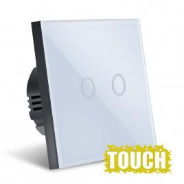 Intrerupator Touch  Sticla Securizata, Design Modern, Iluminare LED, 2 Faze, Alb