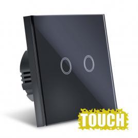 Intrerupator Touch  Sticla Securizata, Design Modern, Iluminare LED, 2 Faze, Negru