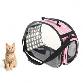 Geanta de Transport pentru Caine sau Pisica ROZ - TRANSPARENT