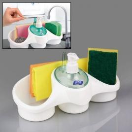 Dispenser titiz detergent vase,cu suport pentru burete,suport inele bijuterii...